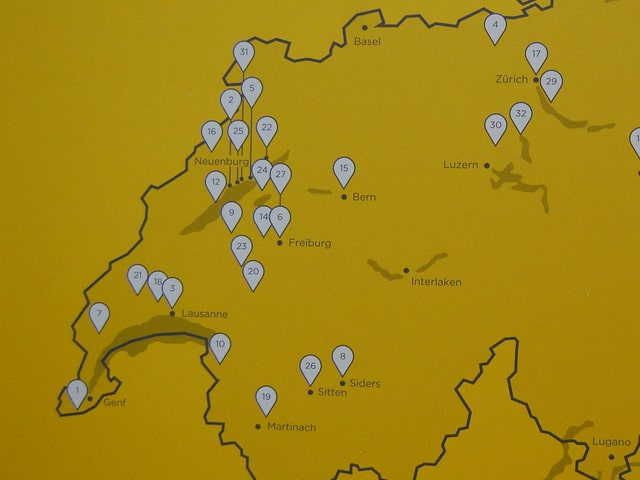 Kartenausschnitt mit Projekt-Fähnchen.