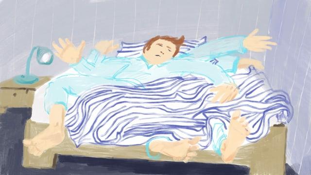 Illustration eines Mannes, der sich mit geschlossenen Augen wild im Bett wälzt.