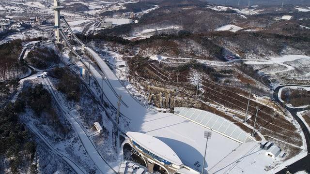 Die Skisprung-Anlage in Pyeongchang
