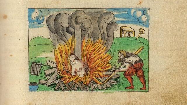 Darstellung einer Hexenverbrennung in Schwyz 1571