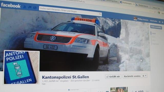 Facebook-Seite der Kantonspolizei St. Gallen