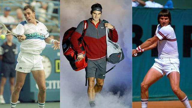 Lendl, Federer und Connors (von links): Nur sie haben 1000 und mehr Siege auf der ATP-Tour feiern können.