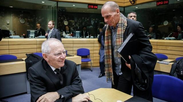 Griechenlands Finanzminister Yannis Varoufakis mit seinem deutschen Amtskollegen Wolfgang Schäuble