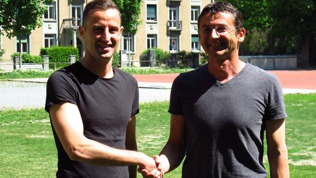 Alessandro Giacomelli (san.) e Vendelin Cabernard, il president da la USSI.