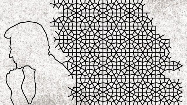Illustration: Ein Mann stützt sein Kinn auf seiner Hand ab, daneben ein islamisch anmutendes Ornament.