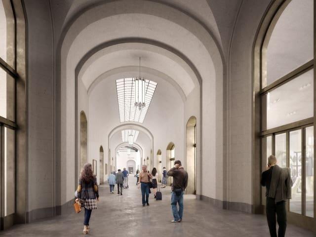 Visualisierung Endzustand der Passage des neuen Westflügels des Bahnhofs SBB.