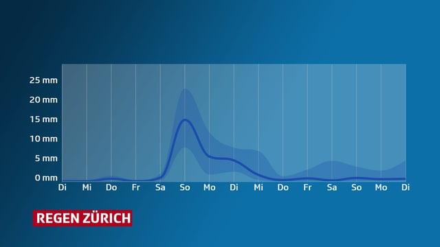 Eine Grafik zeigt den Niederschlagsverlauf in Zürich. Zwischen Samstag und Dienstag liegt die Kurve jeweils über 5 Millimeter Regen pro Tag.