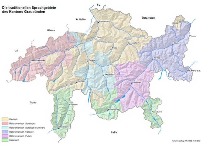 Die traditionellen Sprachgebiete des Kantons Graubünden.