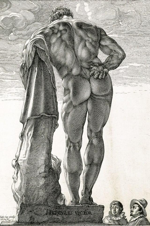 Kupferstich: Rückseite des nackten Herkules.