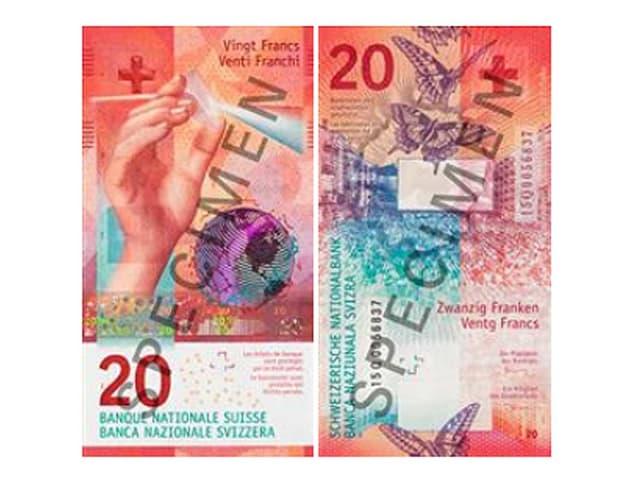 Bild der Vorder- und Rückseite der neuen 20er-Note