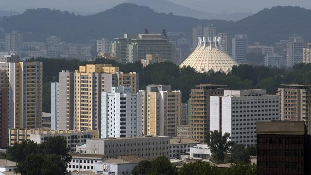 Blick auf Nordkoreas Hauptstadt Pjöngjang