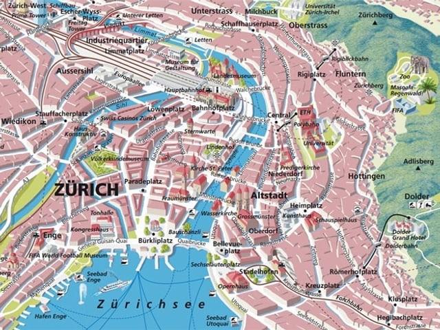 Panoramakarte einer Stadt