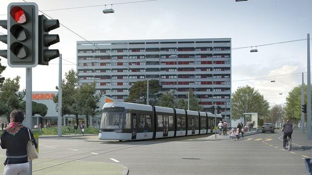 Visualisierung mit Tram auf Kreuzung vor Hochhaus. Im Vordergrund eine rote Ampel