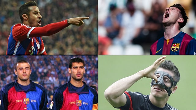 Thiago Alcantara, Lionel Messi, Luis Enrique und Pep Guardiola sowie Robert Lewandowski