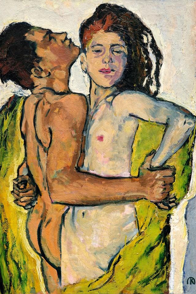 Gemälde mit einem nackten MAnn und einer nackten Frau, die sich eng umschlingen.