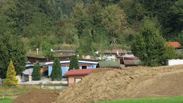 Eine Ansammlung von Häusern, hinten Wald.