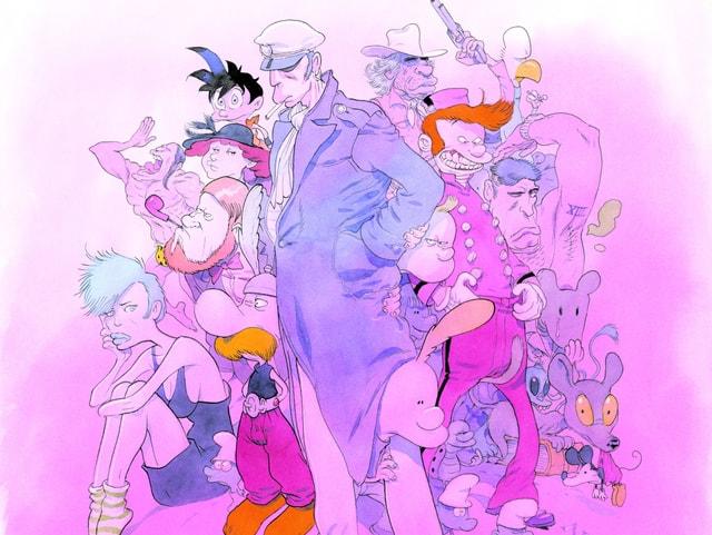 Gezeichnetes Bild einer Gruppe Comic-Figuren.