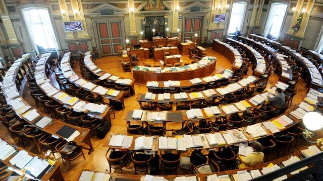 Ein Blick von oben ins St.Galler Kantonsparlament.