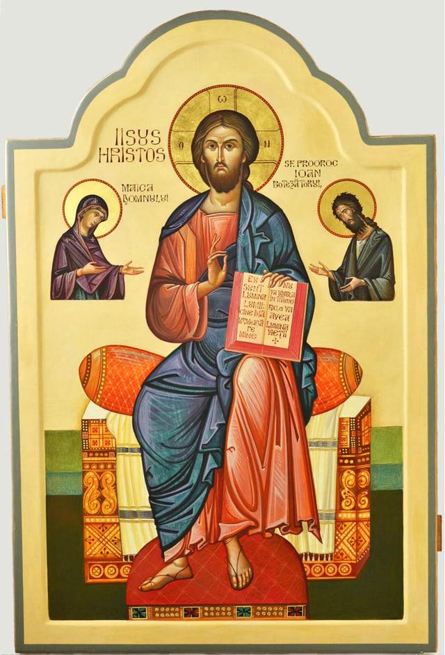 Ikone mit einer Abbildung von Jesus.