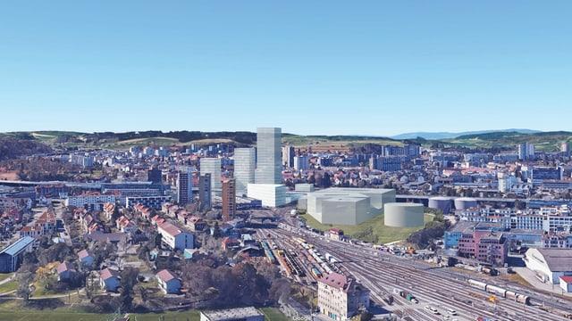 Eine Fotomontage des neuen Quartiers im Westen von Bern