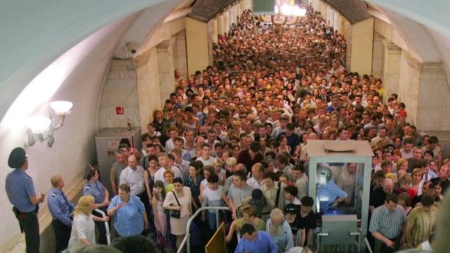 In der U-Bahn in Moskau.