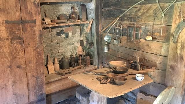 Alte Küche im Ganda-Haus in Vals. Dient heute als Heimatmuseum