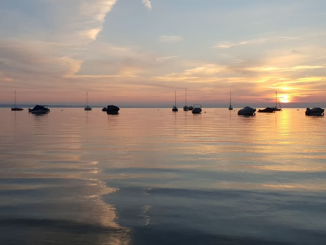 Sonnenaufgang am Bodensee. Auf dem See einige Motorboote und Segelboote vor Anker.