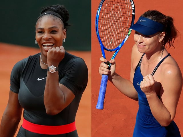 Serena Williams (l.) gegen Maria Scharapowa.