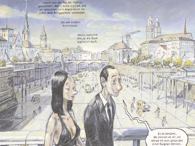 Zeichnung: Ein Mann und eine Frau spazieren über die Quaibrücke.