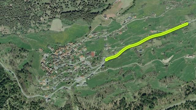 Sin ina lunghezza da 680 meters vegn la via renovada.