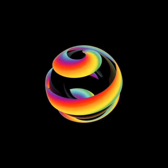Drehende bunte Oberfläche einer Kugel