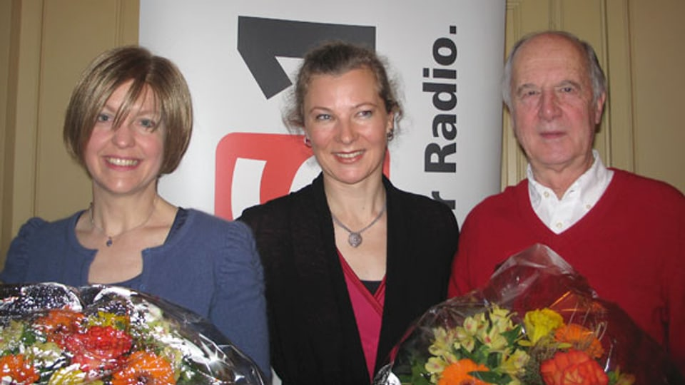 Marianne Botta, DRS 1-Gastgeberin Karin Frei und Ueli Ernst Adams