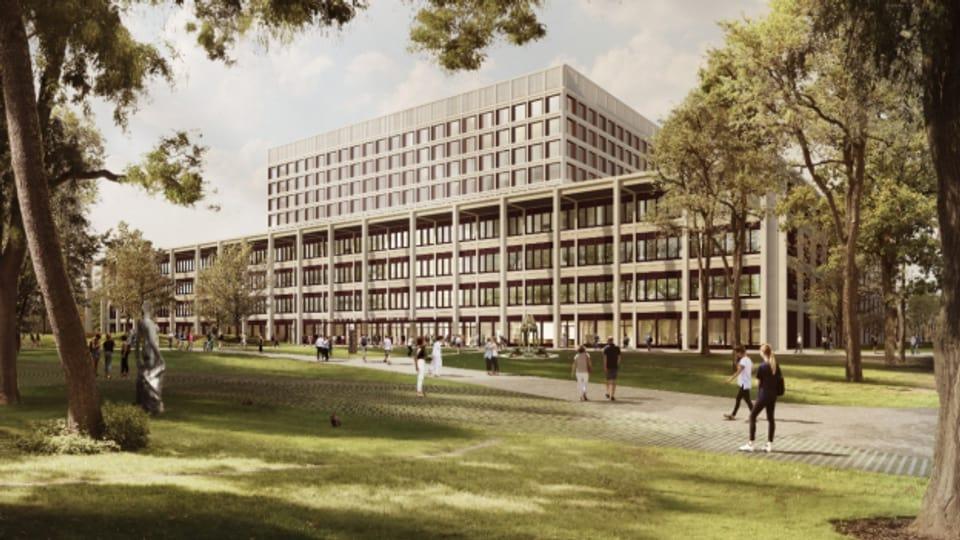 Ein grosser Neubau soll die vielen kleineren Gebäude auf dem KSA-Areal ersetzen.