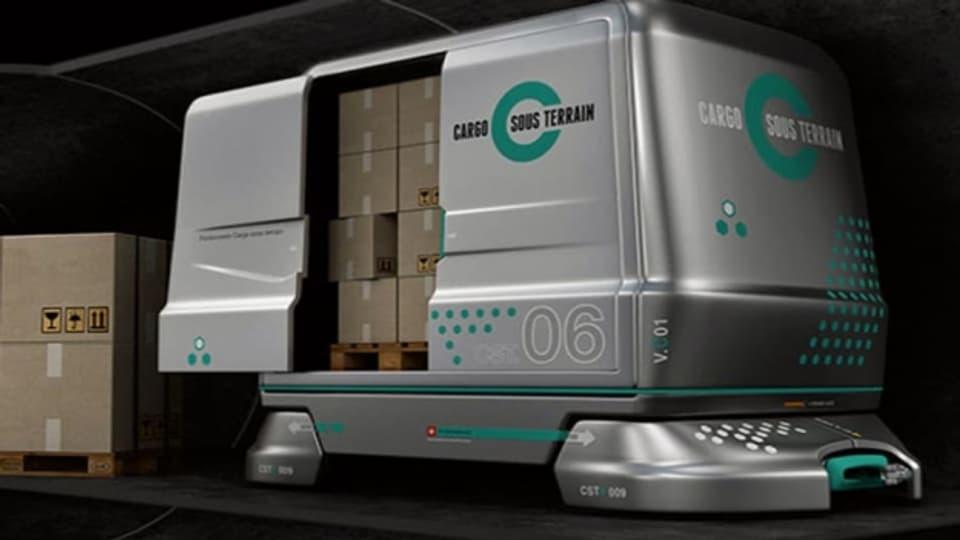 In vollautomatisierten Fahrzeugen sollen künftig unterirdisch Güter transportiert werden