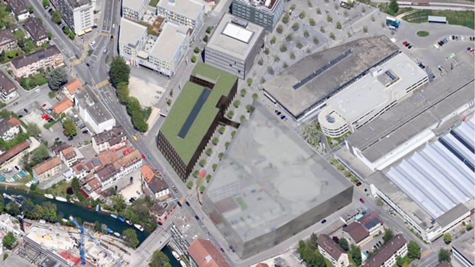 Im Herzen der Stadt Biel könnte der Innovationspark entstehen (grünes Gebäude).