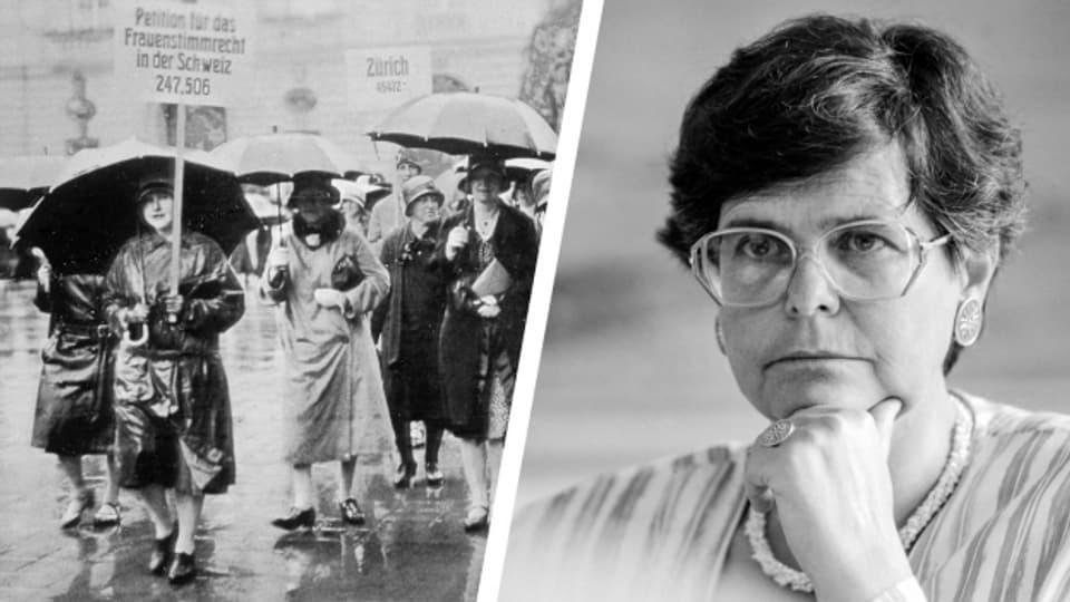 Bereits 1929 demonstrierten Frauen fürs Stimmrecht (rechts). 1993 wurde Ruth Dreifuss in den Bundesrat gewählt (rechts).