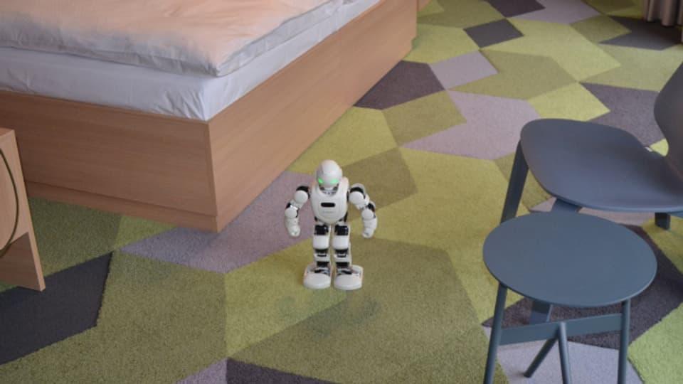 In einem Zimmer können die Gäste mit Robotern spielen.