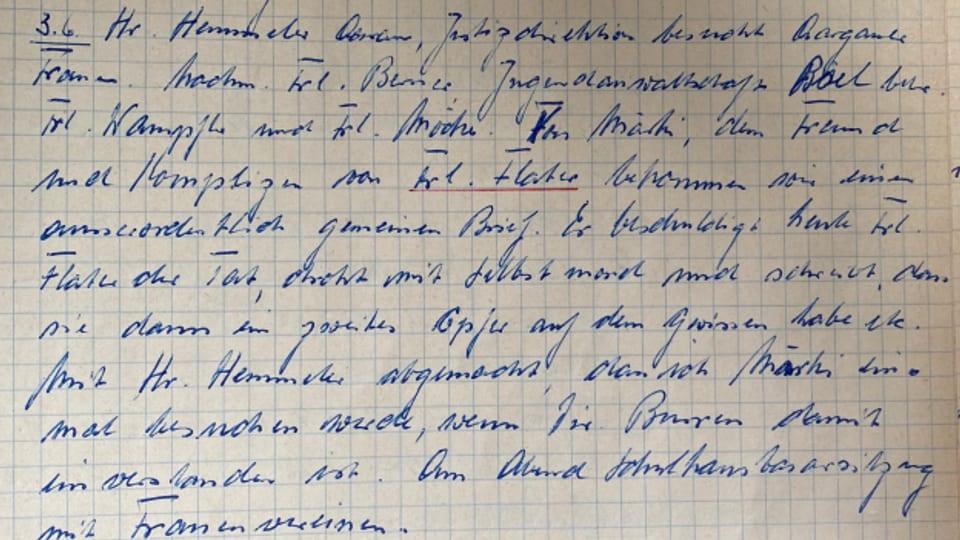 Von Hand hat Fritz Meyer alles aufgeschrieben, was er als Anstaltsdirektor erlebt hat