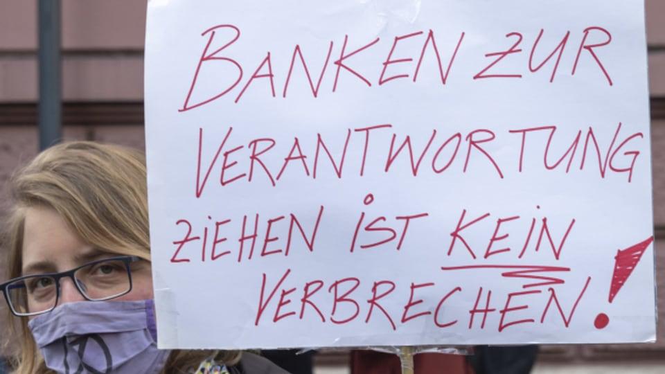 Vor dem Prozess gab es beim Basler Strafgericht eine kleinere Protestaktion