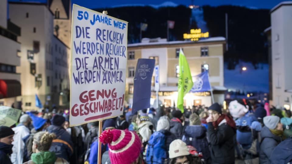 Demos wie hier am WEF 2020 in Davos könnten auch in der Stadt Luzern ein Thema werden.