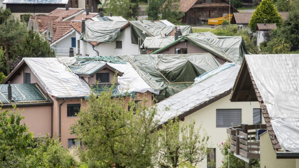 Die Hagelstürme richteten grosse Schäden an - wie hier in Wolhusen.