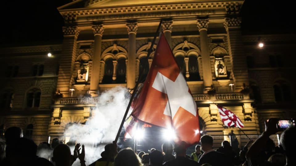 Der unbewilligte Corona-Protest von letzter Woche in Bern.