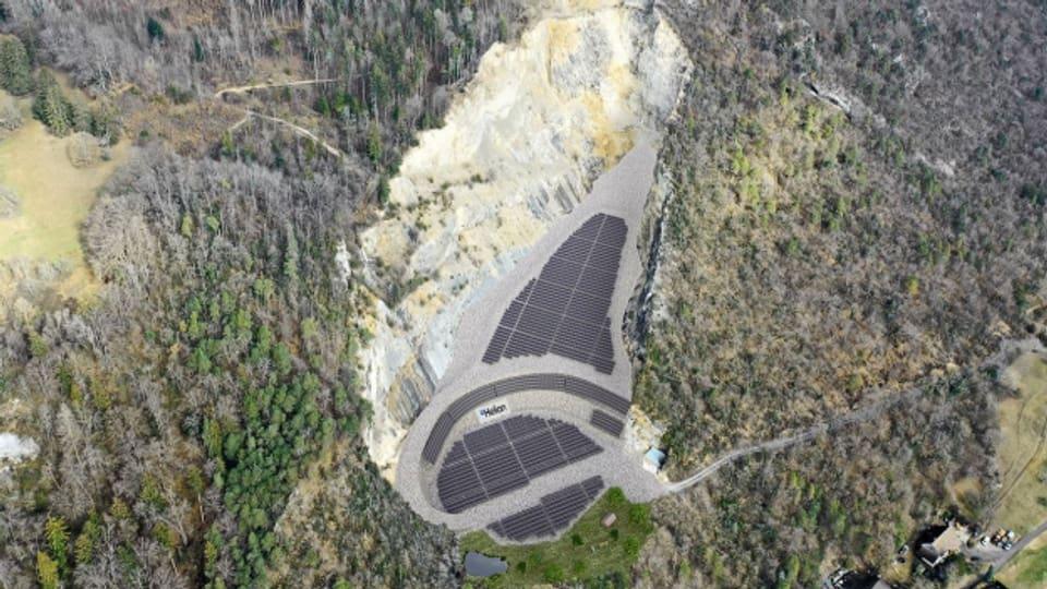 Solarzellen im alten Steinbruch bei Egerkingen. So könnte es mal aussehen