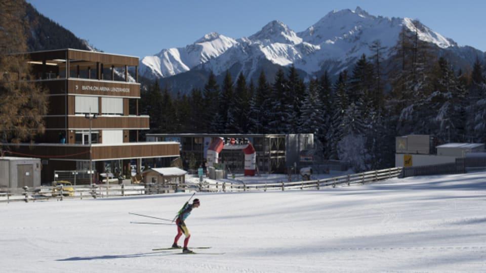 Findet hier in der Biathlon-Arena Lenzerheide statt: Die Biathlon-WM 2025.