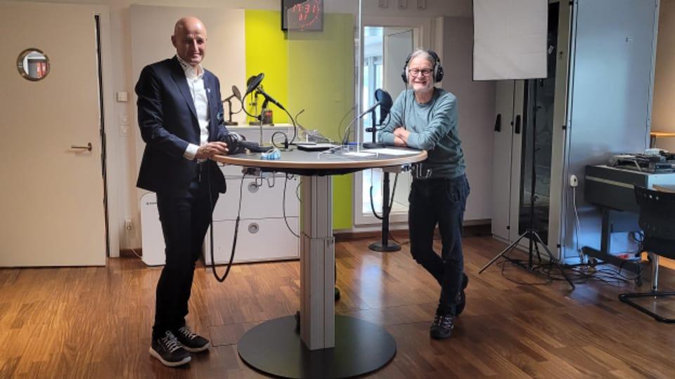 FCSG-Trainer Peter Zeidler am Tag nach der grossen Niederlage zu Gast im Radiostudio bei Fritz Bischof