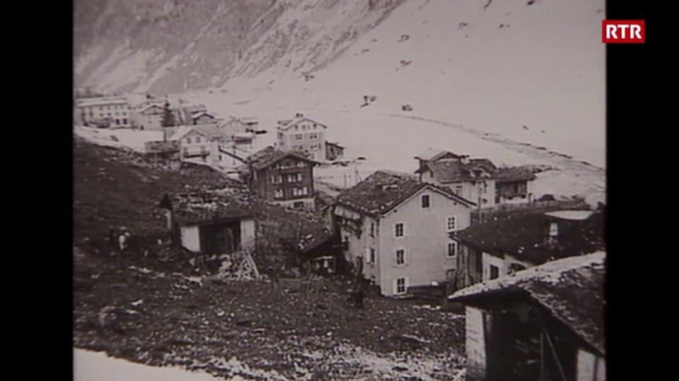 Il vitg da Val S. Pieder cun chasas destruidas