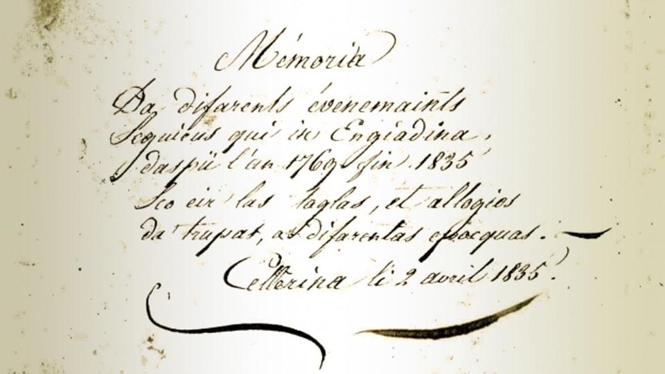Fegl da titel dal diari da Mengia Curô-Frizzoni da Schlarigna dals eveniments tranter il 1769-1835 en Engiadina.