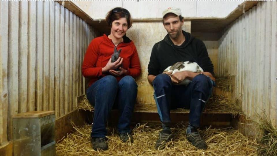 Natalie Cavelti e Thomas Leppkes en lur tratga da cunigls a Cunter.