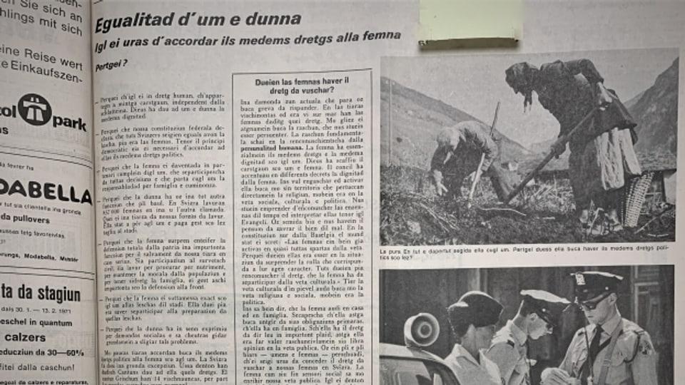 Artichels davart il dretg da vuschar per las dunnas ord la Gasetta Romontscha da l'onn 1971.