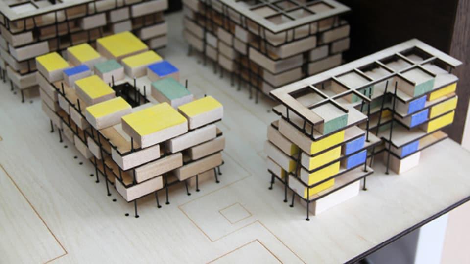 Modell für eine Überbauung mit privaten und gemeinsam genutzten Räumen.